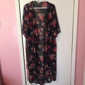 Floral Print Long Kimono